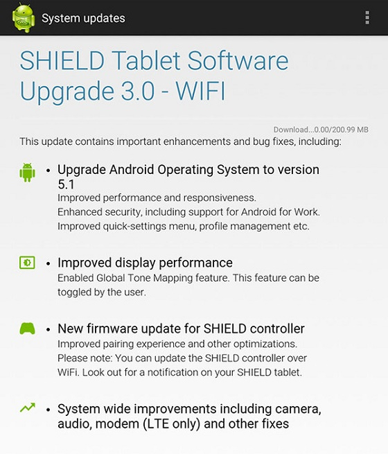 NVIDIA SHIELD Tablet update Android 5.1