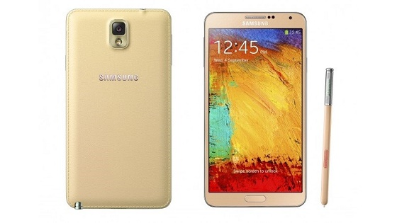 Samsung Galaxy Note III gold render