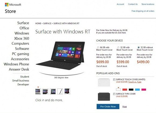 Microsoft Surface preorders